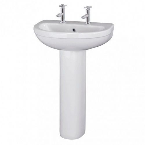 Ivo 550mm Basin & Full Pedestal - 2 Tap Hole